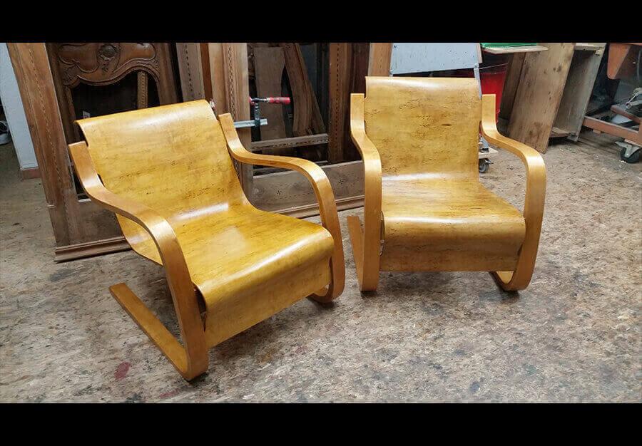 restauration fauteuils alvar aalto. Black Bedroom Furniture Sets. Home Design Ideas